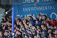 AFC Wimbledon fans during the The FA Cup 5th round match between AFC Wimbledon and Millwall at the Cherry Red Records Stadium, Kingston, England on 16 February 2019.