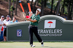 June 22, 2018 - Cromwell, CT, U.S. - CROMWELL, CT - JUNE 22: Brian Harman of the United States hits from the 18th tee during the Second Round of the Travelers Championship on June 22, 2018, at TPC River Highlands in Cromwell, Connecticut. (Photo by Fred Kfoury III/Icon Sportswire) (Credit Image: © Fred Kfoury Iii/Icon SMI via ZUMA Press)
