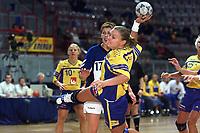 8nov2001 Fjellhallen Gjøvik - Anna Rapp, Sverige skyter fra strek mot Yougosalvia. Personer i bilde: Anna L. Rapp. (Foto: Andreas Fadum, Digitalsport)