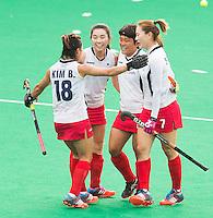 ANTWERP -   Mihyun Park (2e r) scored from a penalty stroke for Korea  during  the  semifinal hockeymatch   Korea vs New Zealand.  WSP COPYRIGHT KOEN SUYK