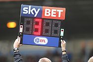 Sky Bet and EFL fourth official board during the EFL Sky Bet League 1 match between Rochdale and Gillingham at Spotland, Rochdale, England on 23 September 2017. Photo by Daniel Youngs.