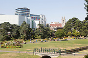 Hilton Hotel and the Lower Gardens, Bourne Valley Greenway, Bournemouth, Dorset, England, UK