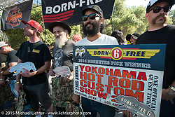 (L-R) Big awards went to Brandon Casquilho, Tom Fugle and Kosuke Saito on Day one of the Born Free Vintage Chopper and Classic Motorcycle Show at the Oak Canyon Ranch in Silverado, CA. USA. Saturday, June 28, 2014.  Photography ©2014 Michael Lichter.