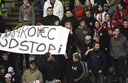 Fans of Jesenice wants from manager of Jesenice Matjaz Mahkovec to quit at 2nd final match of Slovenian National Championships  between HK Acroni Jesenice and HDD Tilia Olimpija, on March 17, 2009, in Podmezaklja, Jesenice, Slovenia. Acroni Jesenice won after free shots 2:1 and are leading 2:0. They need to win 2-times more. (Photo by Vid Ponikvar / Sportida)