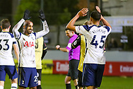 GOAL Tottenham Hotspur midfielder Lucas Moura (27) (left) celebrates a goal with Tottenham Hotspur forward Carlos Vincius (45) during the The FA Cup match between Marine and Tottenham Hotspur at Marine Travel Arena, Great Crosby, United Kingdom on 10 January 2021.