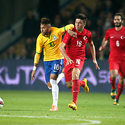 Turkey's Ozan Tufan (3ndR) and Brazil's Neymar JR (L) during their a international friendly soccer match Turkey betwen Brazil at Sukru Saracoglu Arena in istanbul November 12, 2014. Photo by Aykut AKICI/TURKPIX