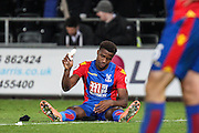 Wilfried Zaha of Crystral Palace looks distraught after the final whistle, during the Premier League match between Swansea City and Crystal Palace at the Liberty Stadium, Swansea, Wales on 26 November 2016. Photo by Andrew Lewis.