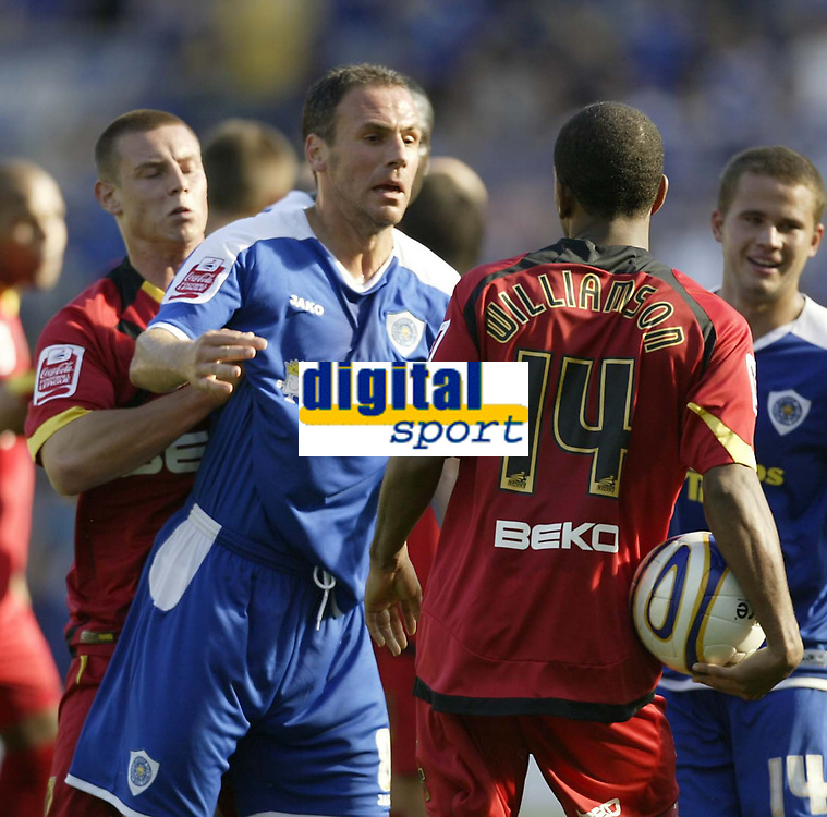 Photo: Aidan Ellis.<br /> Leicester City v Watford. Coca Cola Championship. 25/08/2007.<br /> tempers fray at the end as Leicester's Radostin kishishev has a go at Watford's Lee Williamson