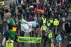 © Licensed to London News Pictures. 29/11/2015. Bristol, UK.  Protest march through Bristol city centre calling for action against Climate Change, the day before the COP21 Climate Change Conference begins in Paris.  Photo credit : Simon Chapman/LNP
