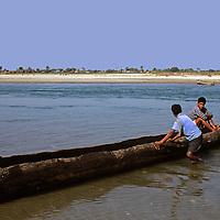 Asia, Nepal, Bardia. Dug Out Canoe in Bardia