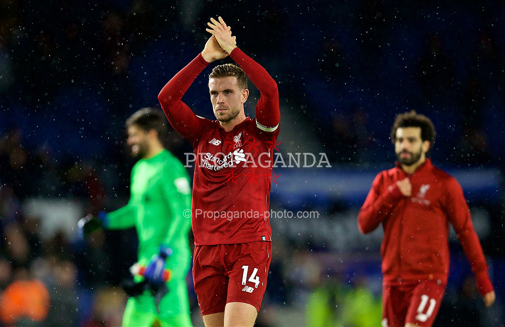 BRIGHTON AND HOVE, ENGLAND - Saturday, January 12, 2019: Liverpool's captain Jordan Henderson applauds the supporters after the FA Premier League match between Brighton & Hove Albion FC and Liverpool FC at the American Express Community Stadium. Liverpool won 1-0. (Pic by David Rawcliffe/Propaganda)