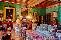 France, Cher (18), Berry, le château d'Ainay-le-Vieil, salon, route Jacques Coeur,// France, Cher (18), Berry, château d'Ainay-le-Vieil castle, the Jacques Coeur road, living room