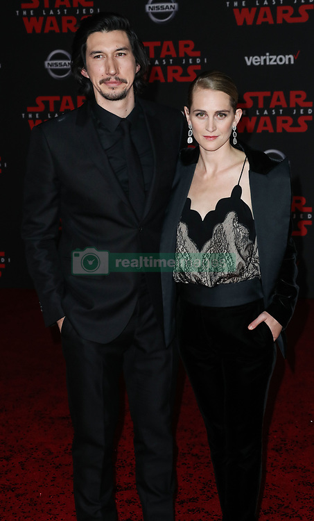 World Premiere Of Disney Pictures And Lucasfilm's 'Star Wars: The Last Jedi' held at The Shrine Auditorium on December 9, 2017 in Los Angeles, California, United States. 09 Dec 2017 Pictured: Adam Driver, Joanne Tucker. Photo credit: IPA/MEGA TheMegaAgency.com +1 888 505 6342