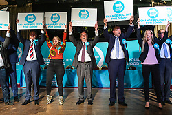 © Licensed to London News Pictures. 19/05/2019. Frimley, UK. Leader of The Brexit Party Nigel Farage (centre) joins MEP candidates on stage at a party rally in Frimley, Surrey, ahead of the European Elections. Photo credit: Rob Pinney/LNP
