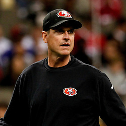 November 25, 2012; New Orleans, LA, USA; San Francisco 49ers head coach Jim Harbaugh against the New Orleans Saints prior to a game at the Mercedes-Benz Superdome. The 49ers defeated the Saints 31-21. Mandatory Credit: Derick E. Hingle-US PRESSWIRE