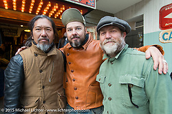 """""""Sushi"""" Atsushi Yasui with the Race of Gentlemen's Bobby Green and Mel Stultz after a ride around Tokyo with friends of the Freewheelers And Company shop. Tokyo, Japan. December 8, 2015.  Photography ©2015 Michael Lichter."""