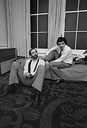 John Cleese and Rowan Atkinson backstage at the Secret Policemans Ball.