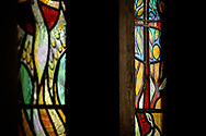 Stained glass separating the sanctuary and narthex depicts a red cross on Saturday, Jan. 16, 2021, at Zion Lutheran Church, Fort Wayne, Indiana. LCMS Communications/Erik M. Lunsford