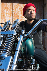 Cycle West's Hiromichi Nishiyama on his  rigid frame Harley-Davidson Knucklehead photographed after Mooneyes. Japan. December 8, 2016.  Photography ©2016 Michael Lichter.