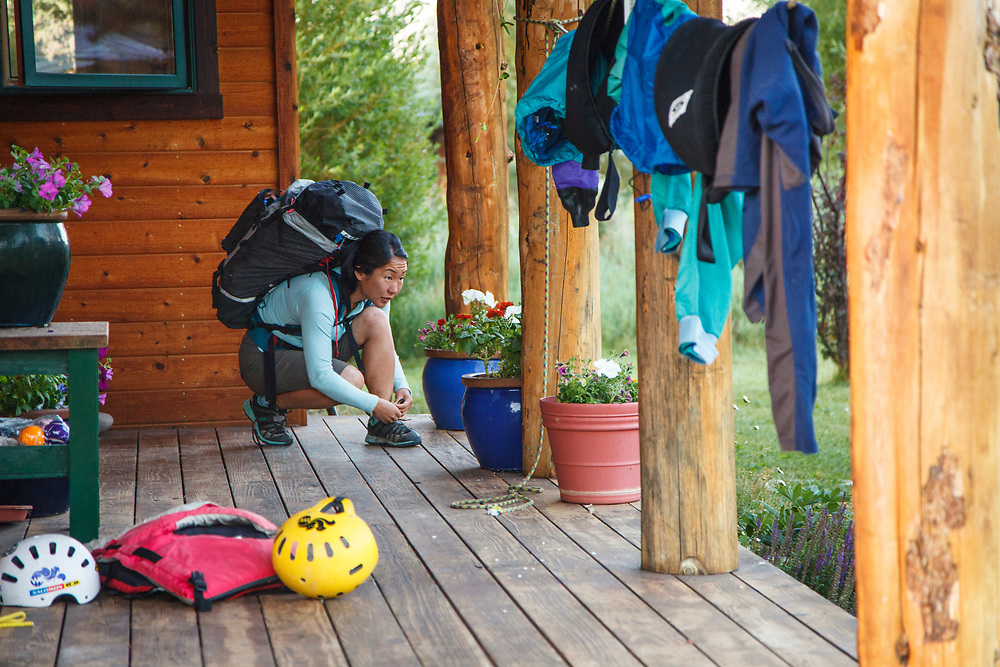 Shiho Kobayashi readies for a day in the Teton's.