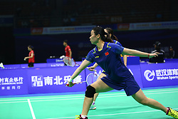 April 26, 2018 - Wuhan, Wuhan, China - Wuhan, CHINA-26th April 2018: Japanese badminton players Fukushima Yuki and Hirota Sayaka defeat Chinese badminton players Tang Jinhua and Huang Yaqiong 2-0 at 2018 Badminton Asia Championships in Wuhan, central China's Hubei Province, April 26th, 2018. (Credit Image: © SIPA Asia via ZUMA Wire)