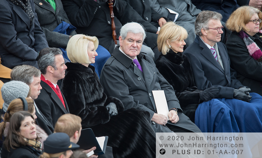 Former Speaker of the House Newt Gingrich, Calista Gingrich, and former Senator Tom Daschle at the 57th Presidential Inauguration of President Barack Obama at the U.S. Capitol Building in Washington, DC January 21, 2013.