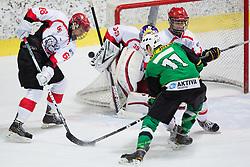 Klemen Drozg of Olimpija vs Jure Pavlic of Jesenice during Erste Bank Young Stars League ice hockey match between HD Jesenice Mladi and HK Olimpija, on November 4, 2012 in Ledena dvorana Bled, Bled, Slovenia. (Photo by Matic Klansek Velej / Sportida.com)