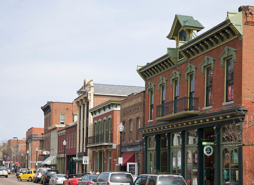 Main Street shopping district in St. Charles, Missouri