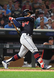 May 31, 2018 - Minneapolis, MN, U.S. - MINNEAPOLIS, MN - MAY 31: Cleveland Indians Shortstop Francisco Lindor (12) hits a solo home run in the top of the 8th during a MLB game between the Minnesota Twins and Cleveland Indians on May 31, 2018 at Target Field in Minneapolis, MN. The Indians defeated the Twins 9-8.(Photo by Nick Wosika/Icon Sportswire) (Credit Image: © Nick Wosika/Icon SMI via ZUMA Press)