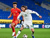 Football - 2020/2021 UEFA Nations League - Group B4 - Wales vs Republic of Ireland - Cardiff City Stadium<br /> <br /> Jeff Hendrick on the attack Ethan Ampadu of Wales defends <br /> in a match played without fans<br /> <br /> COLORSPORT/WINSTON BYNORTH