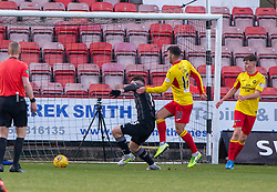 Dunfermline's Greg Kiltie brought down by Dunfermline's Kyle Turner for another penalty. half time : Dunfermline 4 v 0 Partick Thistle, Scottish Championship game played 30/11/2019 at Dunfermline's home ground, East End Park.