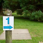 1 number arrow sign in garden