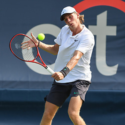 August 1, 2018 - Washington, D.C, U.S - DENIS SHAPOVALOV hits a backhand during his 2nd round match at the Citi Open at the Rock Creek Park Tennis Center in Washington, D.C. (Credit Image: © Kyle Gustafson via ZUMA Wire)