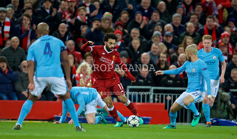 LIVERPOOL, ENGLAND - Wednesday, April 4, 2018: Liverpool's Mohamed Salah during the UEFA Champions League Quarter-Final 1st Leg match between Liverpool FC and Manchester City FC at Anfield. (Pic by David Rawcliffe/Propaganda)
