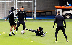 Sergio Aguero, Vincent Kompany and Nicolas Otamendi of Manchester City train - Mandatory byline: Matt McNulty/JMP - 25/04/2016 - FOOTBALL - City Football Academy - Manchester, England - Manchester City v Real Madrid - UEFA Champions League Training Session