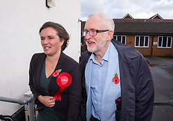 © Licensed to London News Pictures. 02/11/2019. Swindon, Wiltshire, UK.  Swindon Labour candidate Sarah Church greets Labour leader JEREMY CORBYN at a campaign event at the start of Labour's general election campaign in the South West of England at Commonweal 6th form in Swindon, a Conservative-held marginal seat. Labour are promising the biggest people-powered campaign the country has ever seen. Photo credit: Simon Chapman/LNP.
