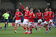 Barnsley attacker Cauley Woodrow (9) celebrating after scoring goal to make it 901 during the EFL Sky Bet League 1 match between AFC Wimbledon and Barnsley at the Cherry Red Records Stadium, Kingston, England on 19 January 2019.