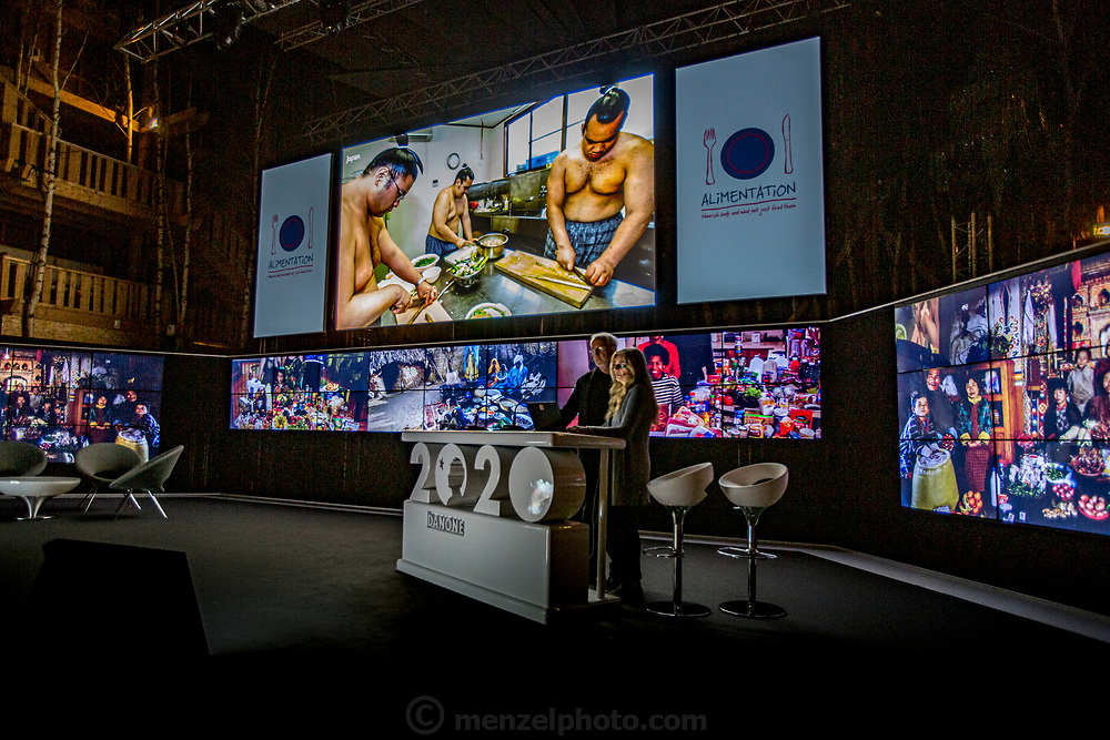 Evian, France. Peter Menzel and Faith D'Aluisio present a keynote lecture for Danone senior staff, 2014.