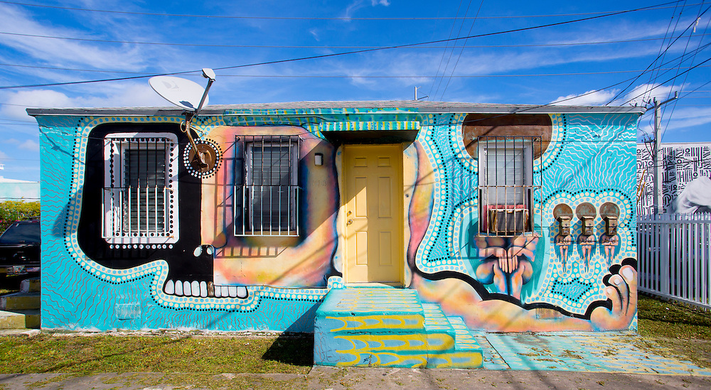 A small house covered with murals in Miami's Wynwood street art district