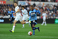 Clinton N'Jie of Tottenham Hotspur in action. Barclays premier league match, Swansea city v Tottenham Hotspur at the Liberty Stadium in Swansea, South Wales on Sunday 4th October 2015.<br /> pic by  Andrew Orchard, Andrew Orchard sports photography.
