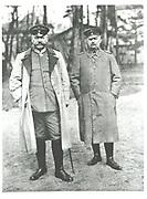 Paul von Beneckendorff und von Hindenburg (1847-1934), left, German soldier and president, with Eric von Ludendorff (1865-1937).