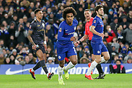 GOAL - Chelsea Midfielder Willian celebrates his penalty conversion 1-0 during the The FA Cup fourth round match between Chelsea and Sheffield Wednesday at Stamford Bridge, London, England on 27 January 2019.