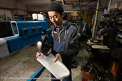Hide Motorcycles' Hideya Togashi in his shop in Kawasaki, Japan during my Japan tour after Mooneyes. Monday, December 3, 2018. Photography ©2018 Michael Lichter.