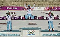 Langrenn<br /> OL Sochi 2014<br /> 22.02.2014<br /> Foto: imago/Digitalsport<br /> NORWAY ONLY<br /> <br /> von links: Therese JOHAUG, NOR, Nr. 1, 2. Platz, Silber,in, Marit BJØRGEN, NOR, Nr. 2, 1. Platz, Gold,, Olympiasiegerin, Kristin Størmer STEIRA, NOR, Nr. 10, 3. Platz, Bronze,in, Jubel, jubelt, Freude, Begeisterung, Emotion, jubeln, cheers, Flower Ceremony Ski Langlauf, 30km Massenstart der Frauen, Damen, Cross Country, Ladies 30 km Mass Start Free, am 22.02.2014