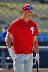 May 28, 2018 - Los Angeles, CA, U.S. - LOS ANGELES, CA - MAY 28: Philadelphia Phillies left fielder Rhys Hoskins (17) looks on before a MLB game between the Philadelphia Phillies and the Los Angeles Dodgers on Memorial Day, May 28, 2018 at Dodger Stadium in Los Angeles, CA. (Photo by Brian Rothmuller/Icon Sportswire) (Credit Image: © Brian Rothmuller/Icon SMI via ZUMA Press)