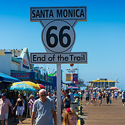 Route 66 - End of the trail sign in Santa Monica, California, USA
