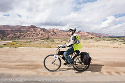 Legs of steel! Brent Hanson of California riding his Class-1, single-cylinder, single-speed, belt drive 1913 Shaw Motorcycle during the Motorcycle Cannonball Race of the Century. Stage-11 ride from Durango, CO to Page, AZ. USA. Wednesday September 21, 2016. Photography ©2016 Michael Lichter.