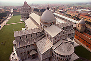 Duomo and Baptistry, seen from above, Pisa, Italy.