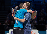 Tennis - 2017 Nitto ATP Finals at The O2 - Day Eight<br /> <br /> Mens Doubles: Final : Henri Kontinen (Finland) & John Peers (Australia) Vs Lukasz Kubot (Poland) & Marcelo Melo (Brazil) <br /> <br /> Henri Kontinen (Finland) and John Peers (Australia) hug after they win the doubles world title at the O2 Arena<br /> <br /> COLORSPORT/DANIEL BEARHAM