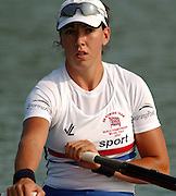 28/08/2003 Thursday.2003 World Rowing Championships, Idroscala. Milan, Italy.Semi finals, Britain's women's double sculls,  Rebecca Romero, at the start of their semi final ... Milan. ITALY 2003 World Rowing Championships. Idro Scala Rowing Course. [Mandatory Credit: Peter Spurrier: Intersport Images.]